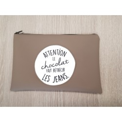 "Pochette Simili ""Attention le chocolat..."""