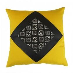 Coussin carré Lima jaune simili noir et motif Afsahi