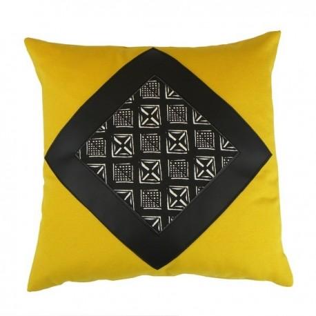 Coussin carré Lima jaune simili noir et motif Afsahi 40x40 cm