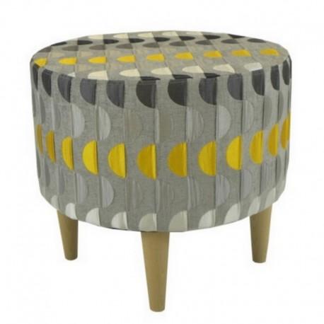 Pouf rond Tissu Moon gris / jaune