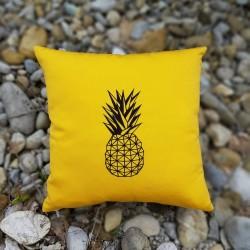 Coussin carré brodé ananas
