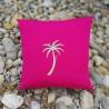 Coussin carré brodé palmier