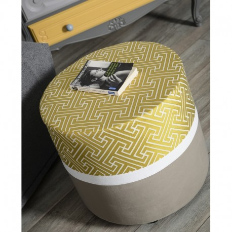 Pouf rond bicolore gris jaune
