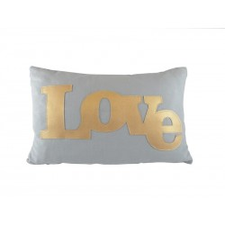 Coussin rectangle Lin lavé bleu décor LOVE